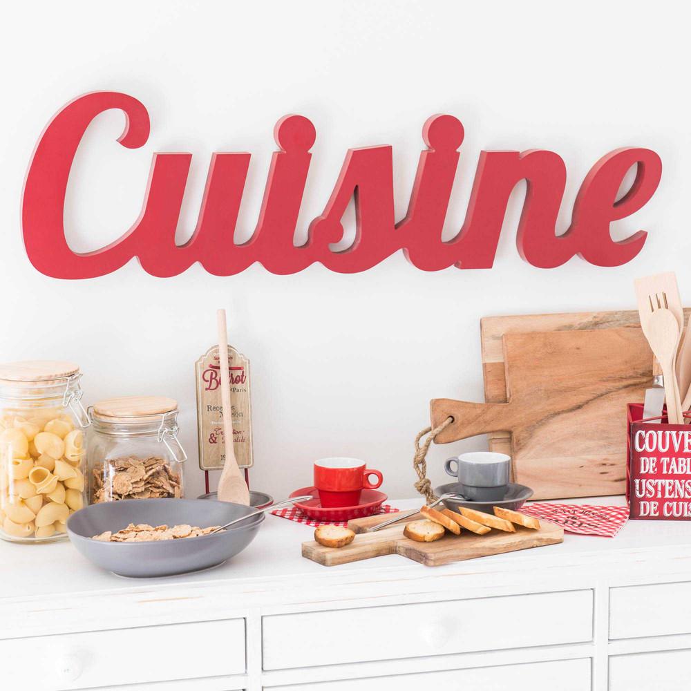 Mot Déco Murale Rouge 80x22 Cuisine Maisons Du Monde