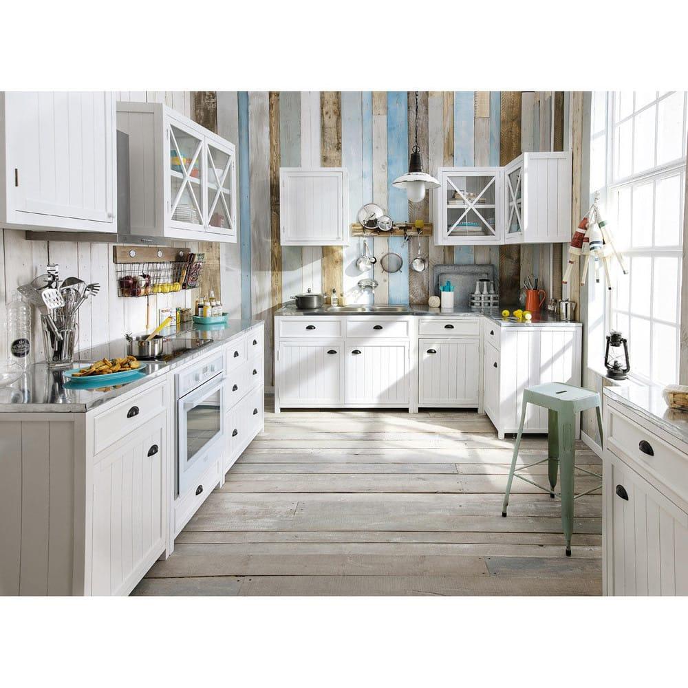 Mueble alto de cocina blanco acristalado de madera An.120 Newport ...