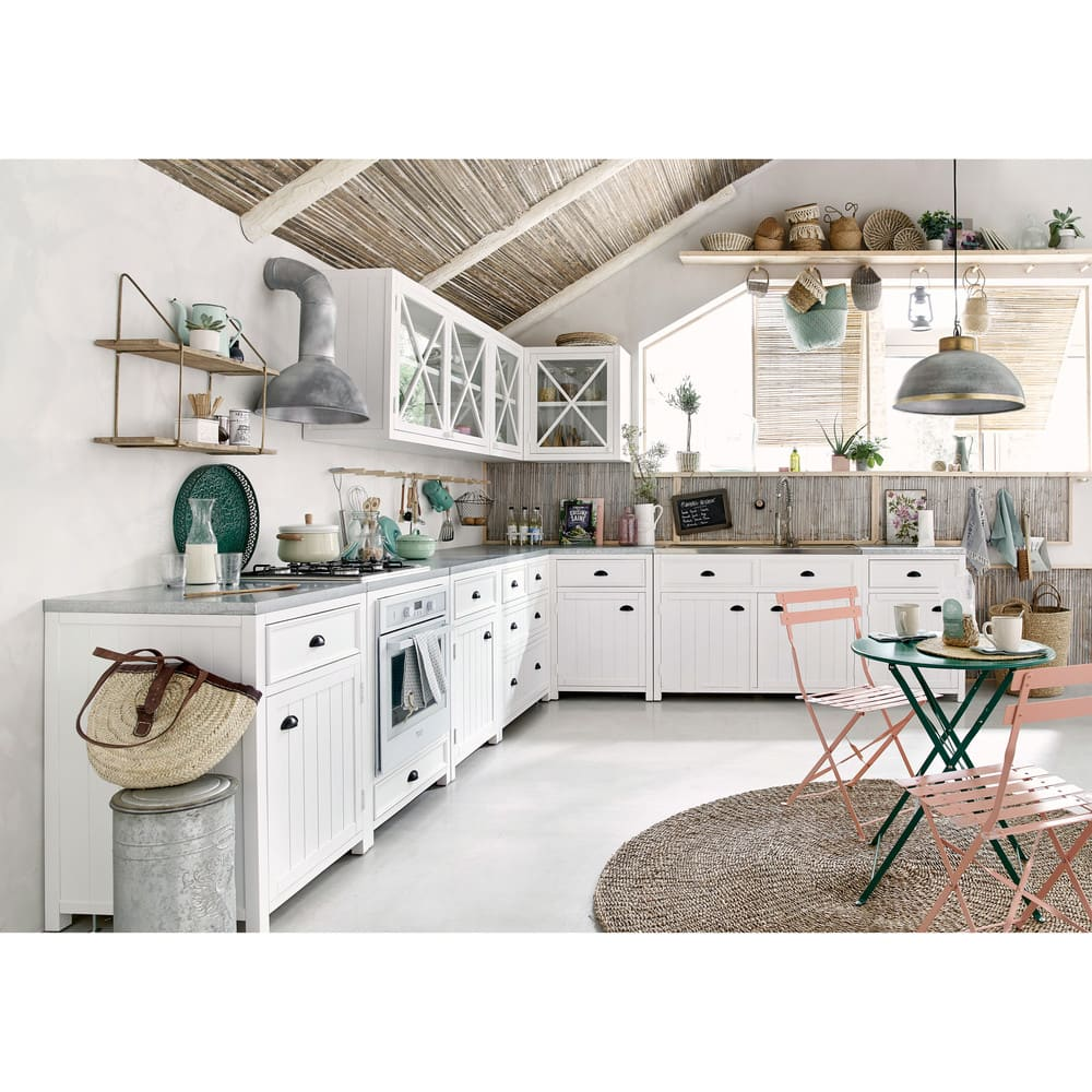 Mueble alto de cocina blanco de madera y acristalado apertura ...