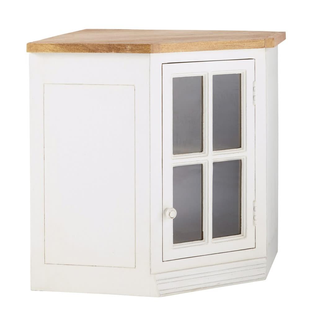 Mueble alto de cocina esquinero acristalado de madera de mango color ...