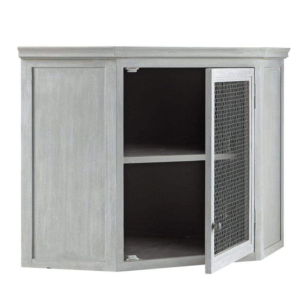 Mueble alto de cocina esquinero de hevea gris L 76 cm Zinc | Maisons ...