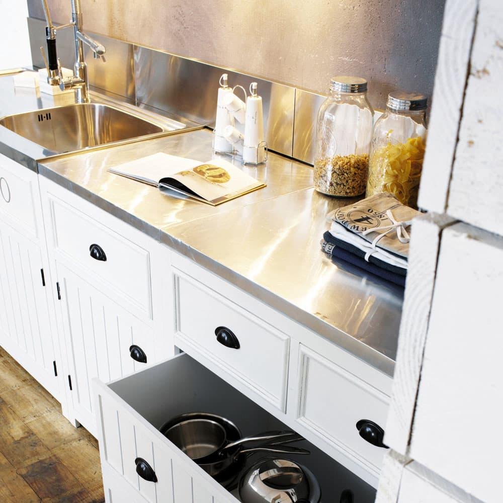 Mueble bajo de cocina blanco de madera apertura derecha An. 60 cm ...