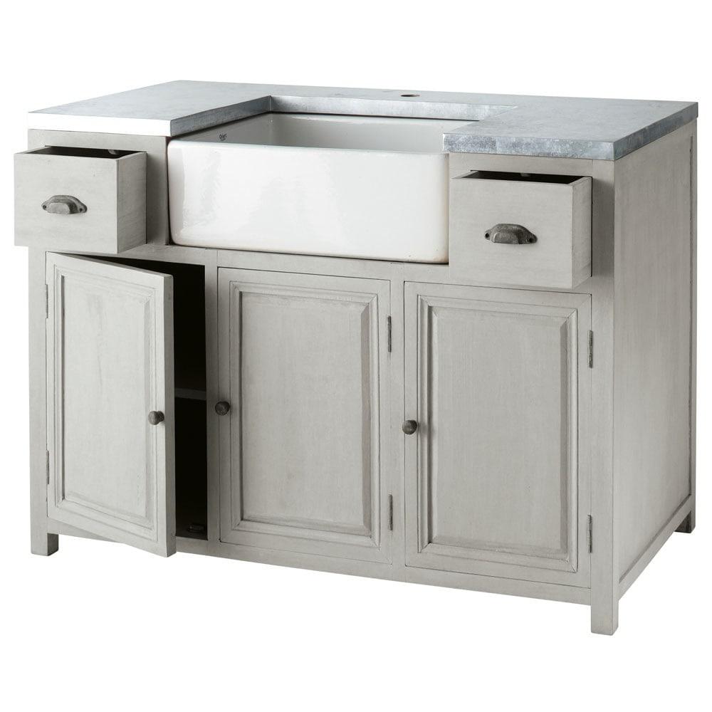 Mueble bajo de cocina con fregadero de hevea gris L 120 cm Zinc ...