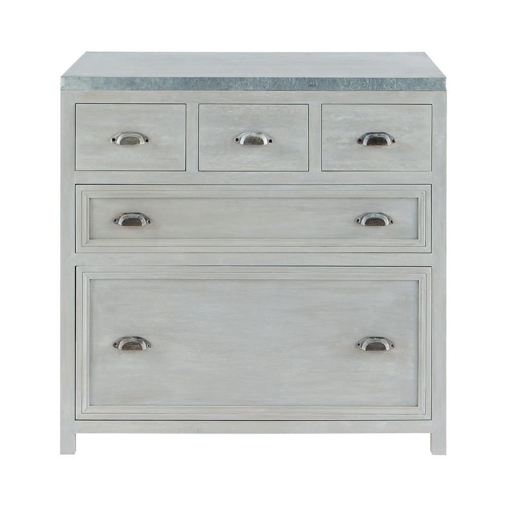 Mueble bajo de cocina de hevea gris L 90 cm Zinc | Maisons du Monde