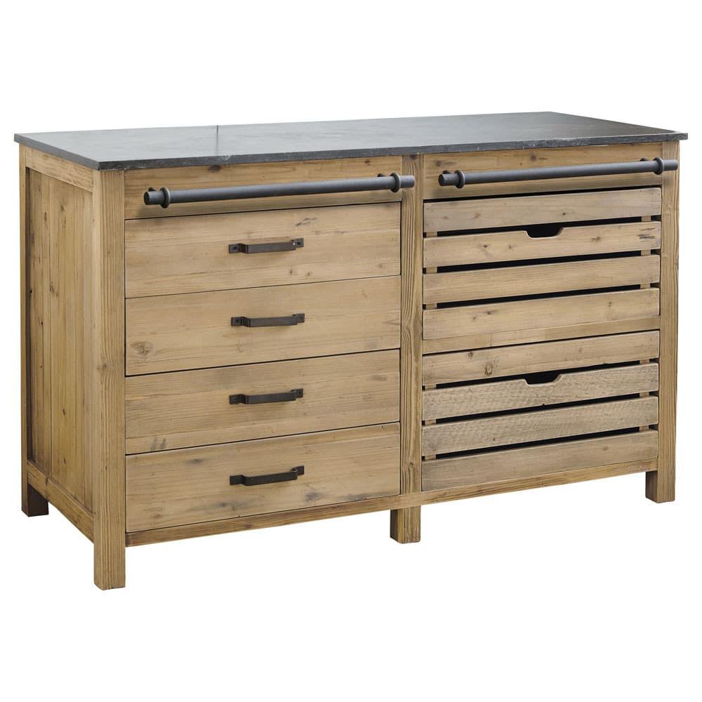 Mueble bajo de cocina de pino reciclado An.140 Pagnol | Maisons du Monde