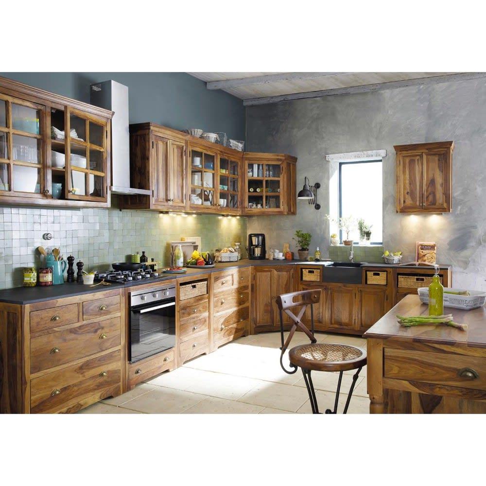 Mueble bajo de cocina esquinero de madera maciza de palo rosa An ...