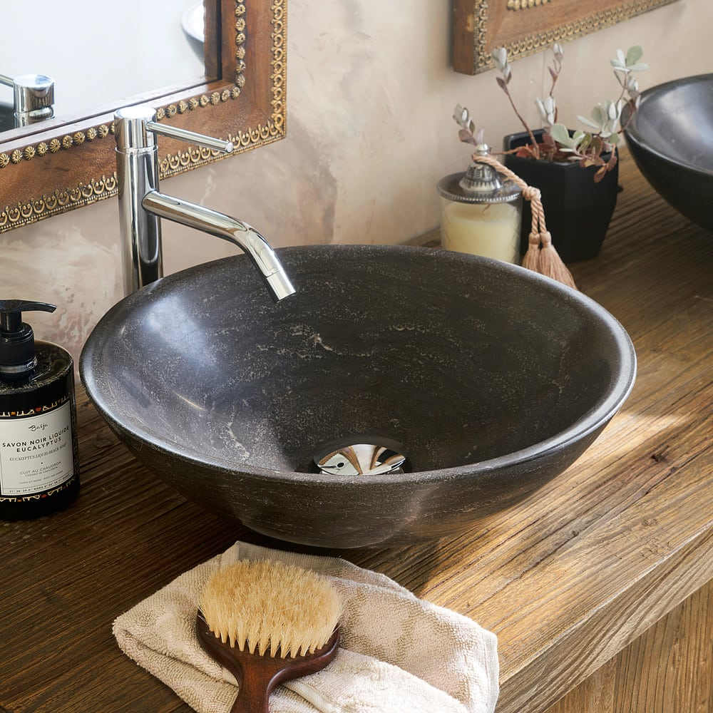 Mueble De Doble Lavabo De Olmo Reciclado Y Piedra Azul Lotus
