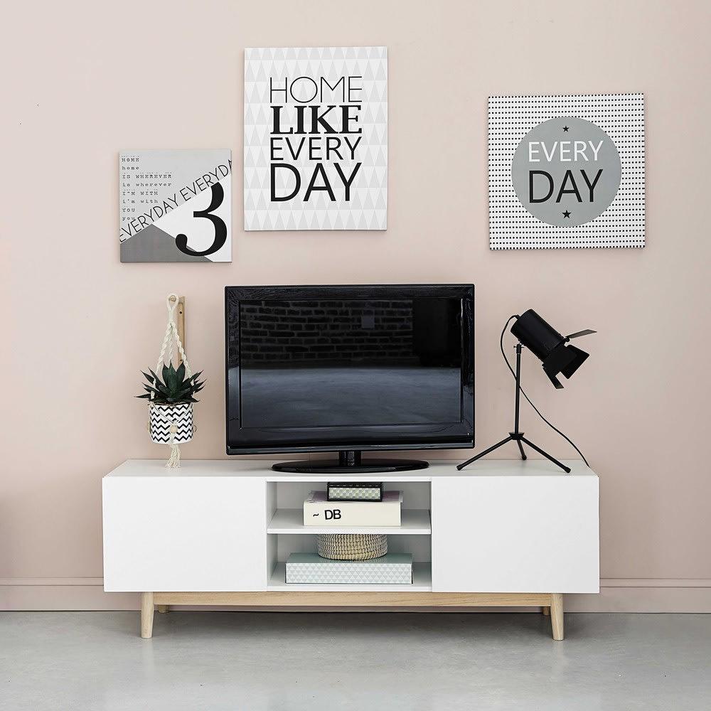 Mueble de tv vintage blanco artic maisons du monde for Mueble tv vintage