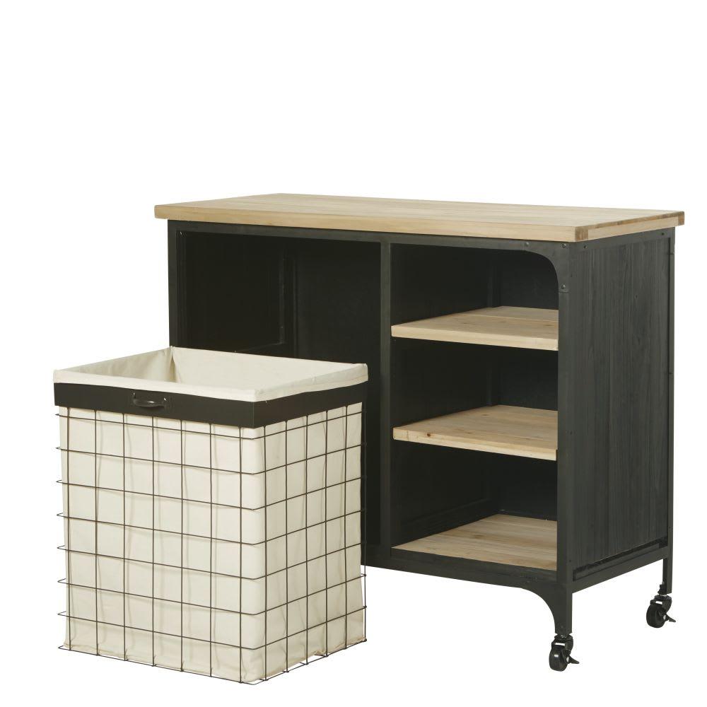 Mueble para lavadora estilo industrial de abeto y metal for Mueble de pared industrial