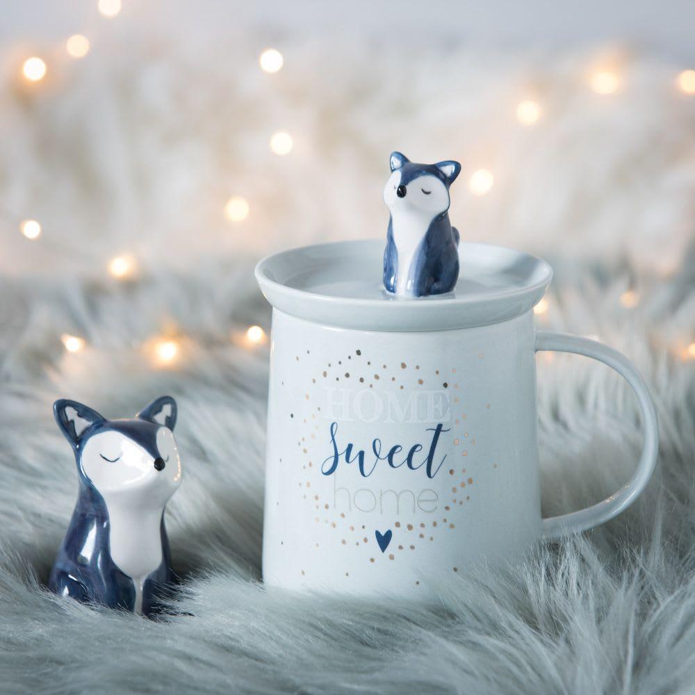 mug avec couvercle renard en porcelaine bleu ciel sweety maisons du monde. Black Bedroom Furniture Sets. Home Design Ideas