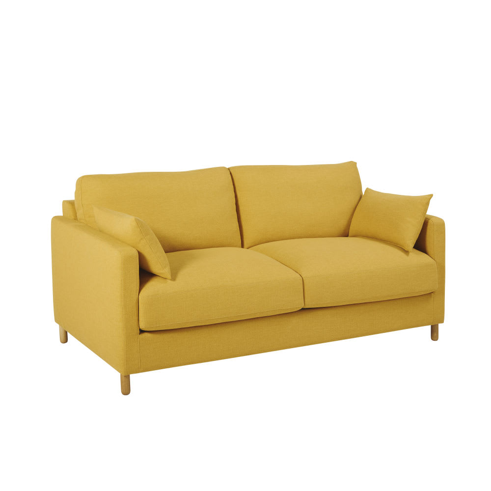 Dreipunkt Designer Leather Sofa Mustard Yellow Two Seat: Mustard Yellow 3-Seater Sofa Bed, Mattress 10 Cm Julian