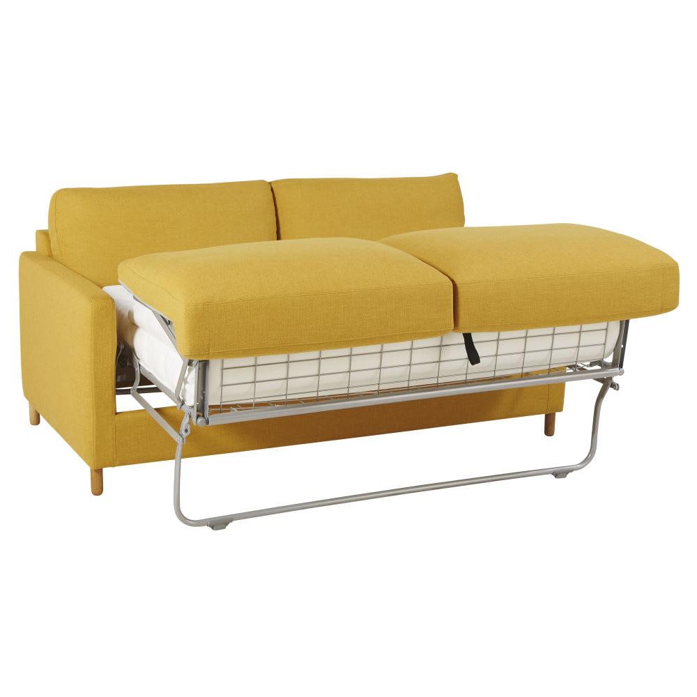 Dreipunkt Designer Leather Sofa Mustard Yellow Two Seat: Mustard Yellow 3-Seater Sofa Bed, Mattress 14 Cm Julian