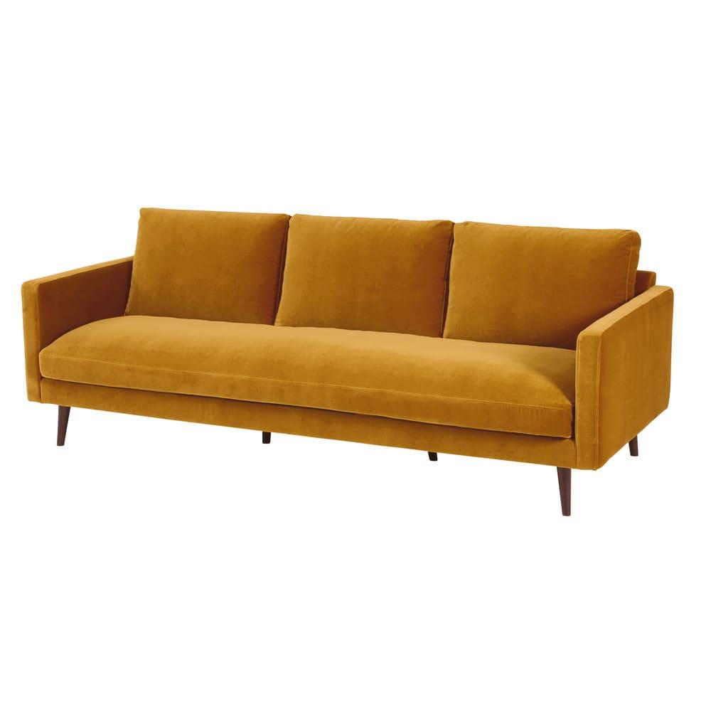 Dreipunkt Designer Leather Sofa Mustard Yellow Two Seat: Mustard Yellow 4-seater Velvet Sofa Kant