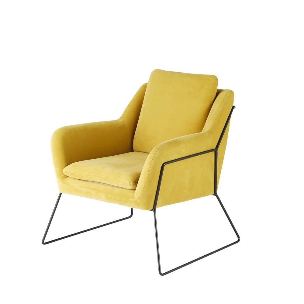 mustard yellow velvet armchair jasper maisons du monde