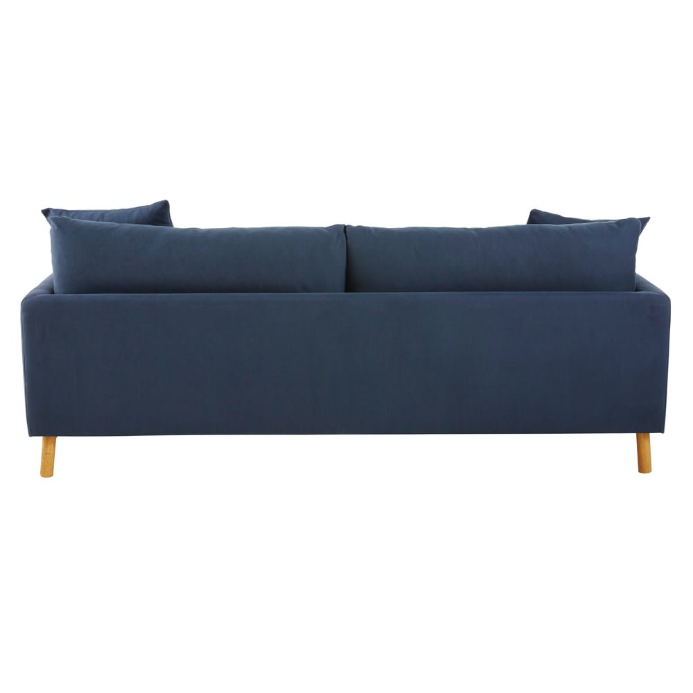 Navy blue 3 seater cotton and linen sofa raoul