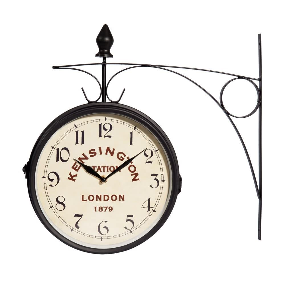 Orologio da stazione in metallo nero 42x24 cm kensington for Orologi da parete maison du monde