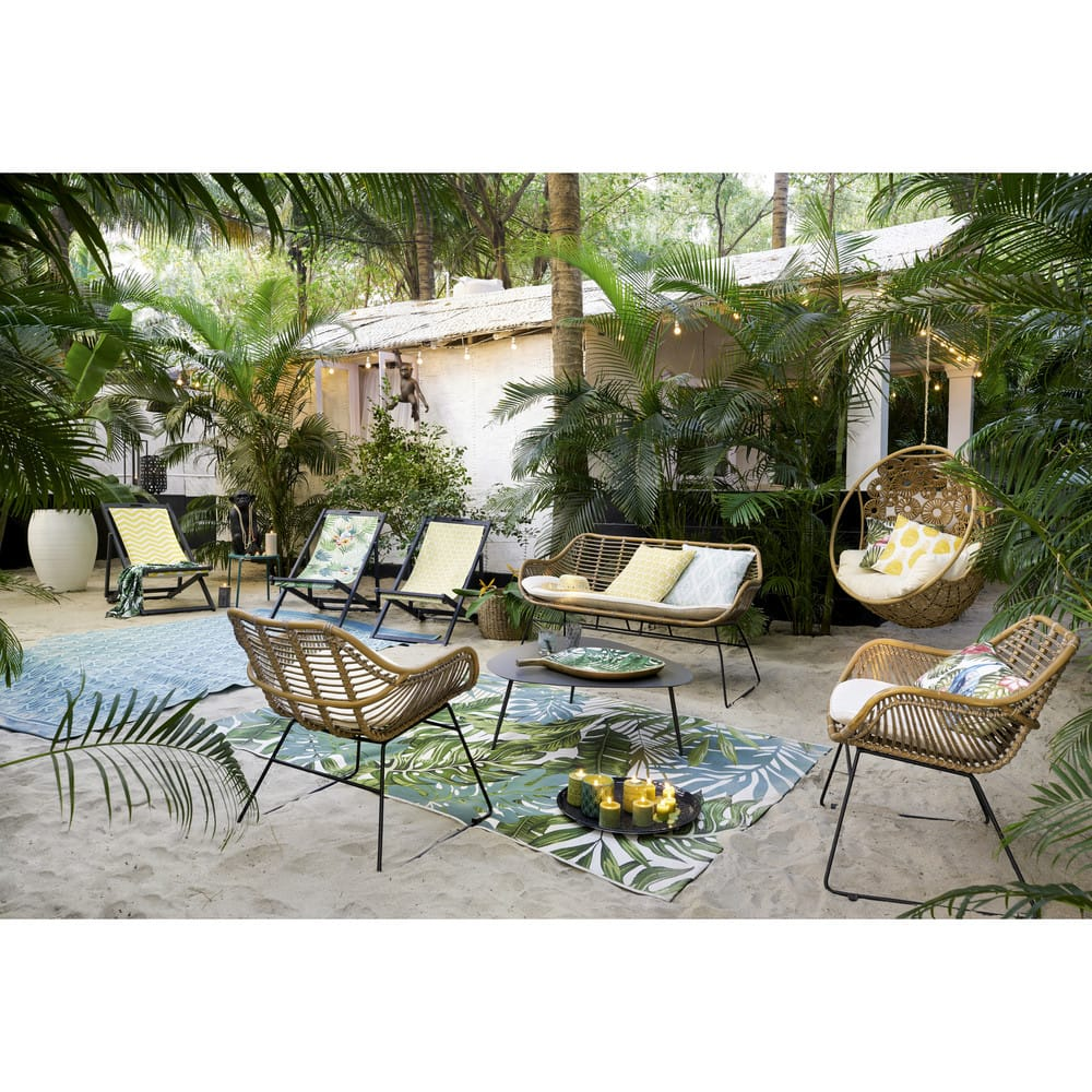 Outdoor Cushion With Tropical Print 30x50 Maisons Du Monde
