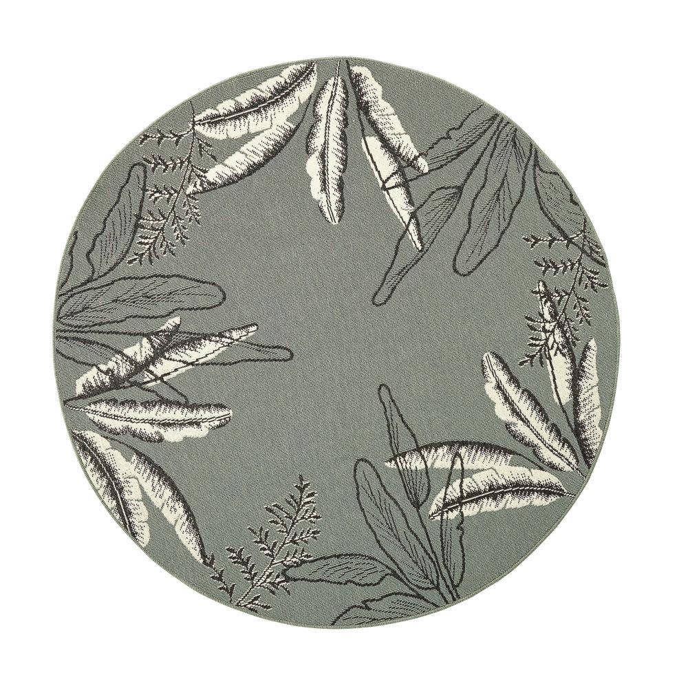 outdoor teppich rund und gr n bedruckt mit blattmotiven. Black Bedroom Furniture Sets. Home Design Ideas