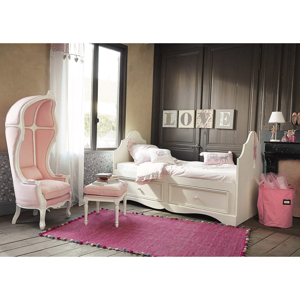 panier linge en coton rose lilas maisons du monde. Black Bedroom Furniture Sets. Home Design Ideas
