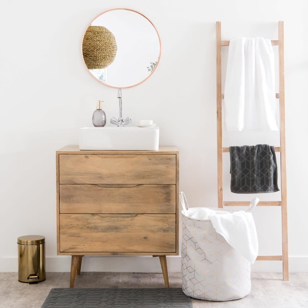 panier linge en tissu h 45 cm copper maisons du monde. Black Bedroom Furniture Sets. Home Design Ideas