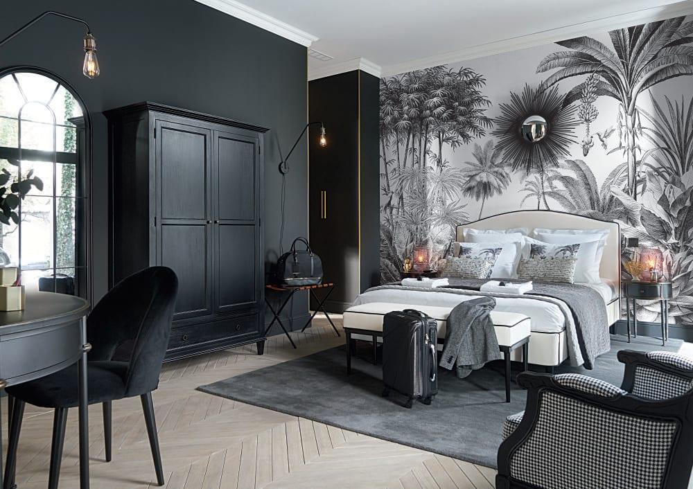 papier peint imprim jungle noir et blanc 300x350 paradise. Black Bedroom Furniture Sets. Home Design Ideas