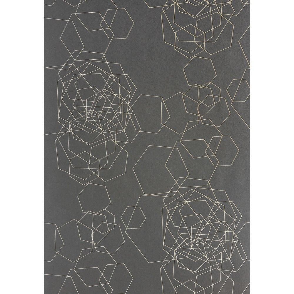 Papier peint intissé graphique gris foncé H 10,05 m x L 0,53 m ...