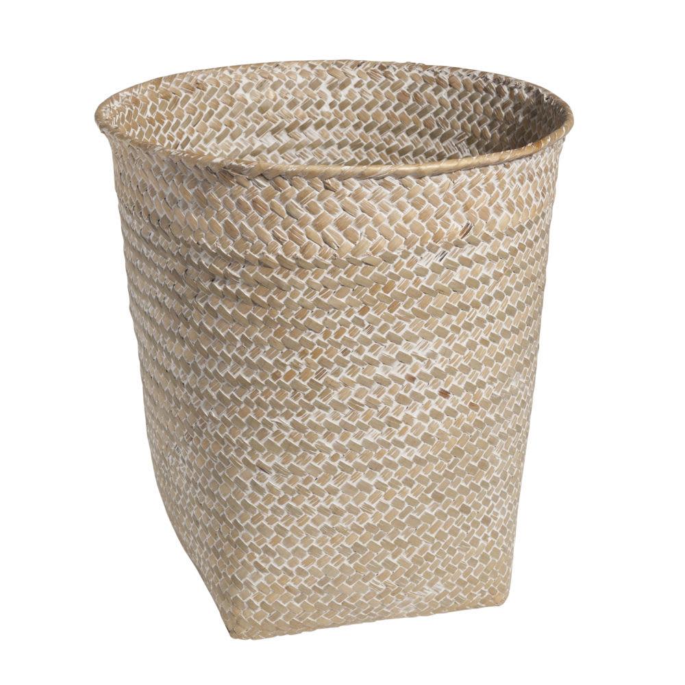 Papierkorb aus geflochtener Pflanzenfaser, H 27 cm, geweißt ...