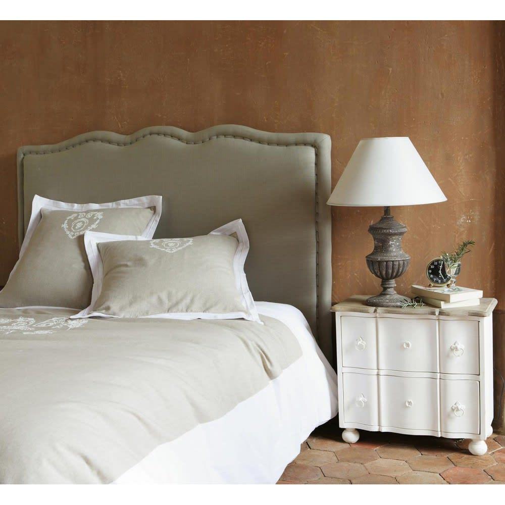 parure de lit 220 x 240 cm en coton beige camille. Black Bedroom Furniture Sets. Home Design Ideas