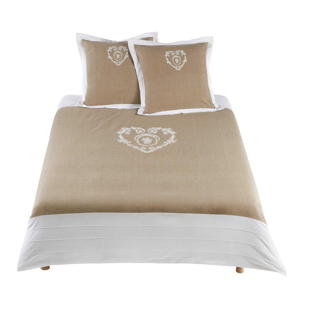 Parure de lit 240 x 260 cm en coton beige Camille | Maisons du Monde