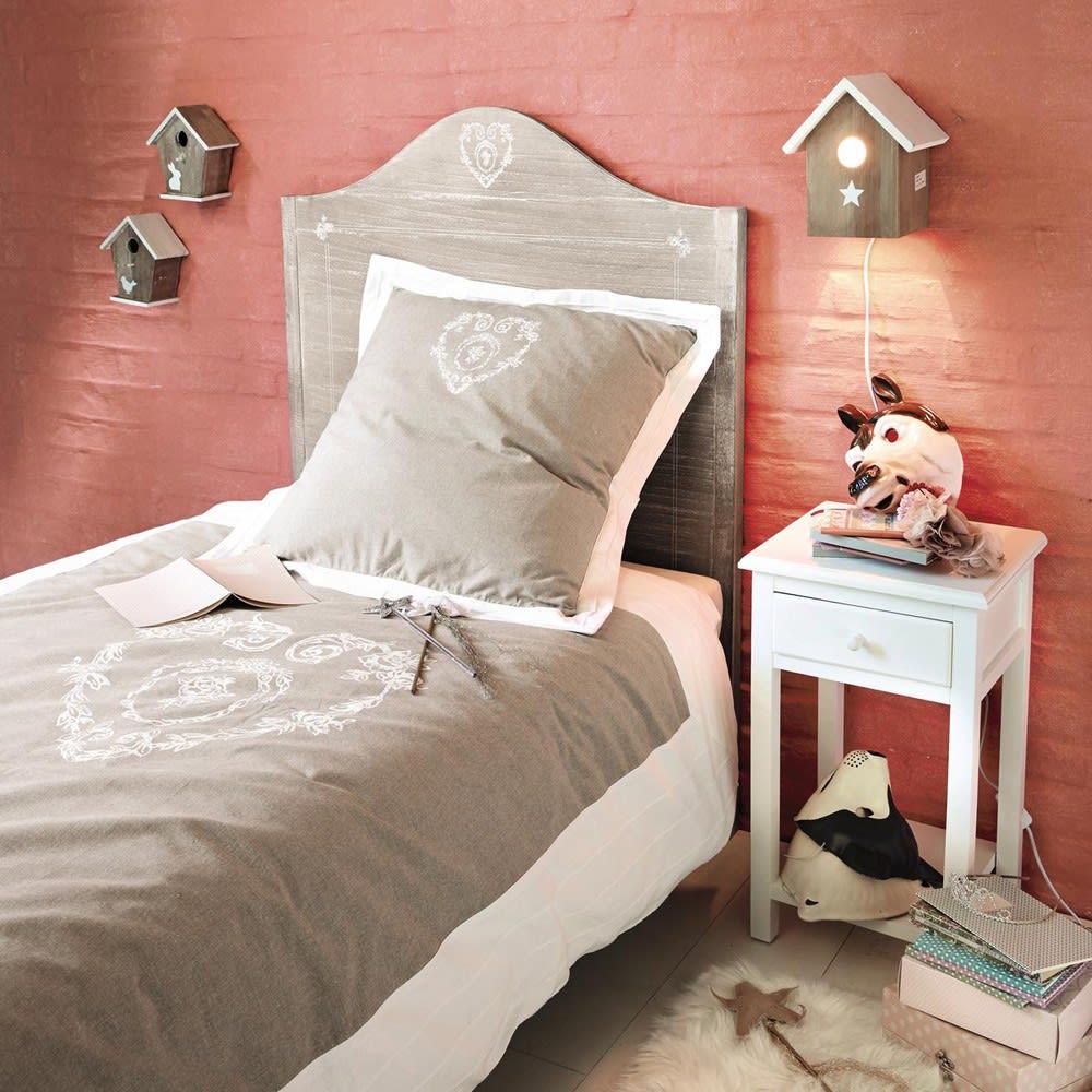 parure de lit en coton beige 140x200 camille maisons du monde. Black Bedroom Furniture Sets. Home Design Ideas