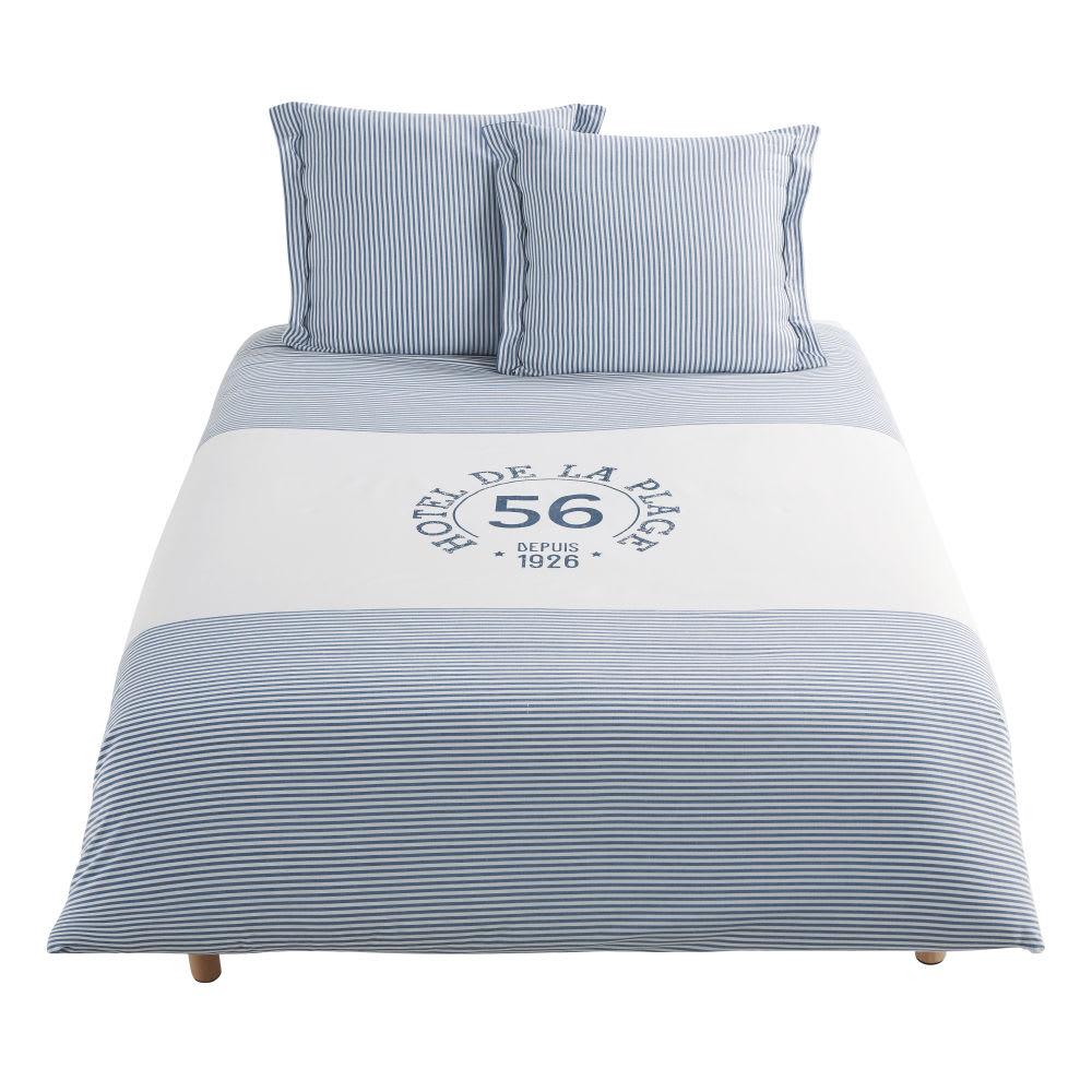 parure de lit en coton blanc motif rayures bleues. Black Bedroom Furniture Sets. Home Design Ideas
