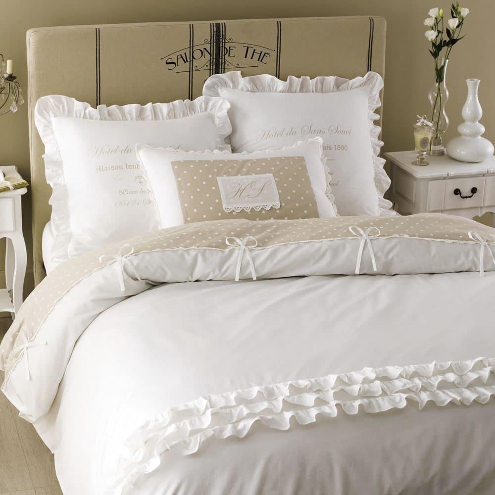 Parure de lit en coton blanche 220x240 Sans