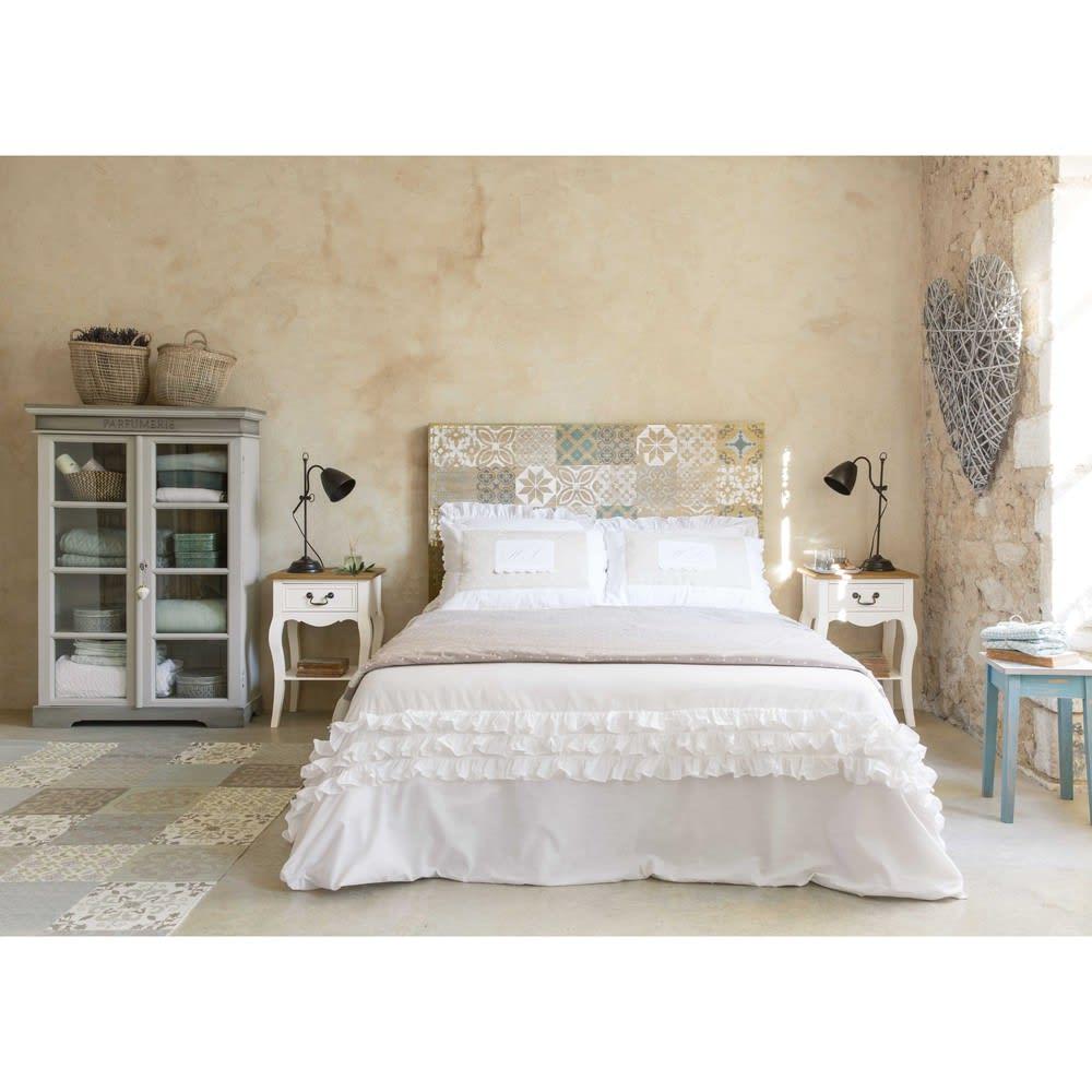 parure de lit en coton blanche 220x240 sans souci maisons du monde. Black Bedroom Furniture Sets. Home Design Ideas
