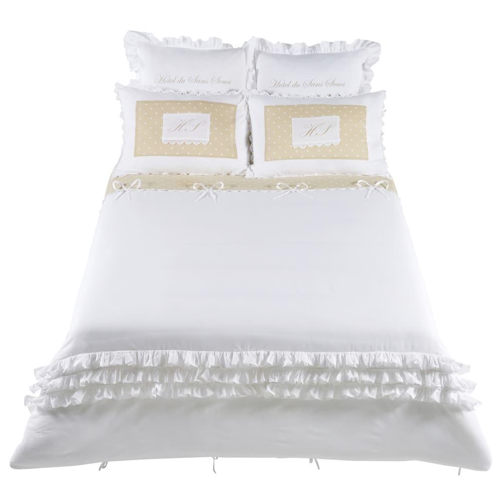 parure de lit en coton blanche 240 x 260 cm sans souci maisons du monde. Black Bedroom Furniture Sets. Home Design Ideas