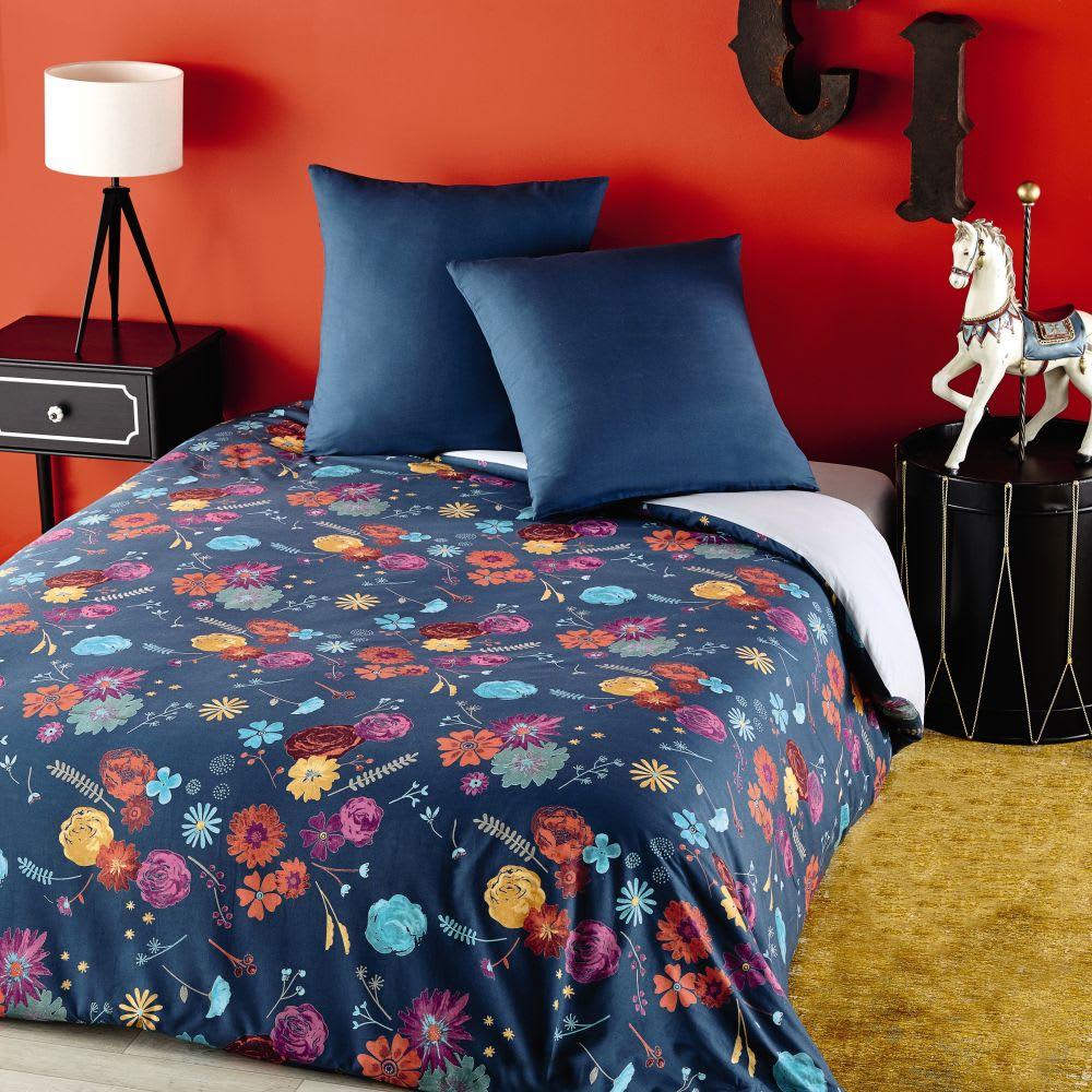 parure de lit en coton bleu p trole motif floral. Black Bedroom Furniture Sets. Home Design Ideas