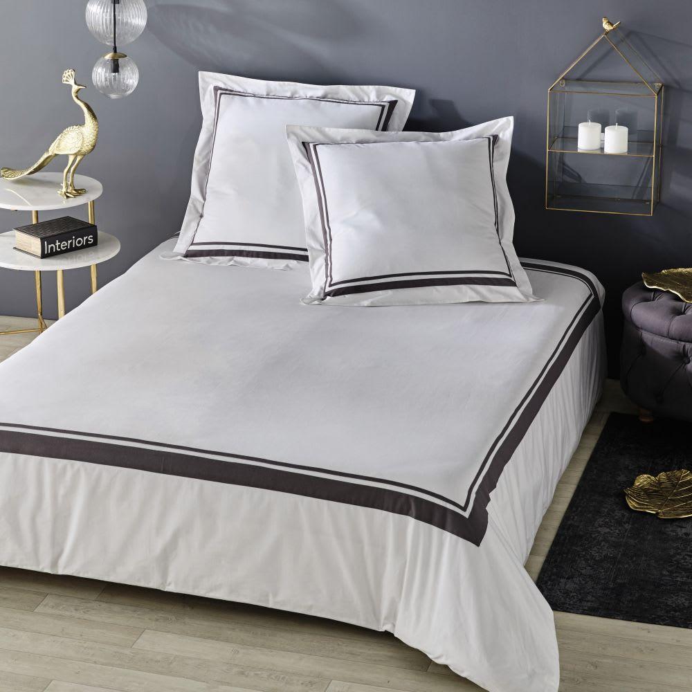 parure de lit en coton cru imprim gris anthracite. Black Bedroom Furniture Sets. Home Design Ideas