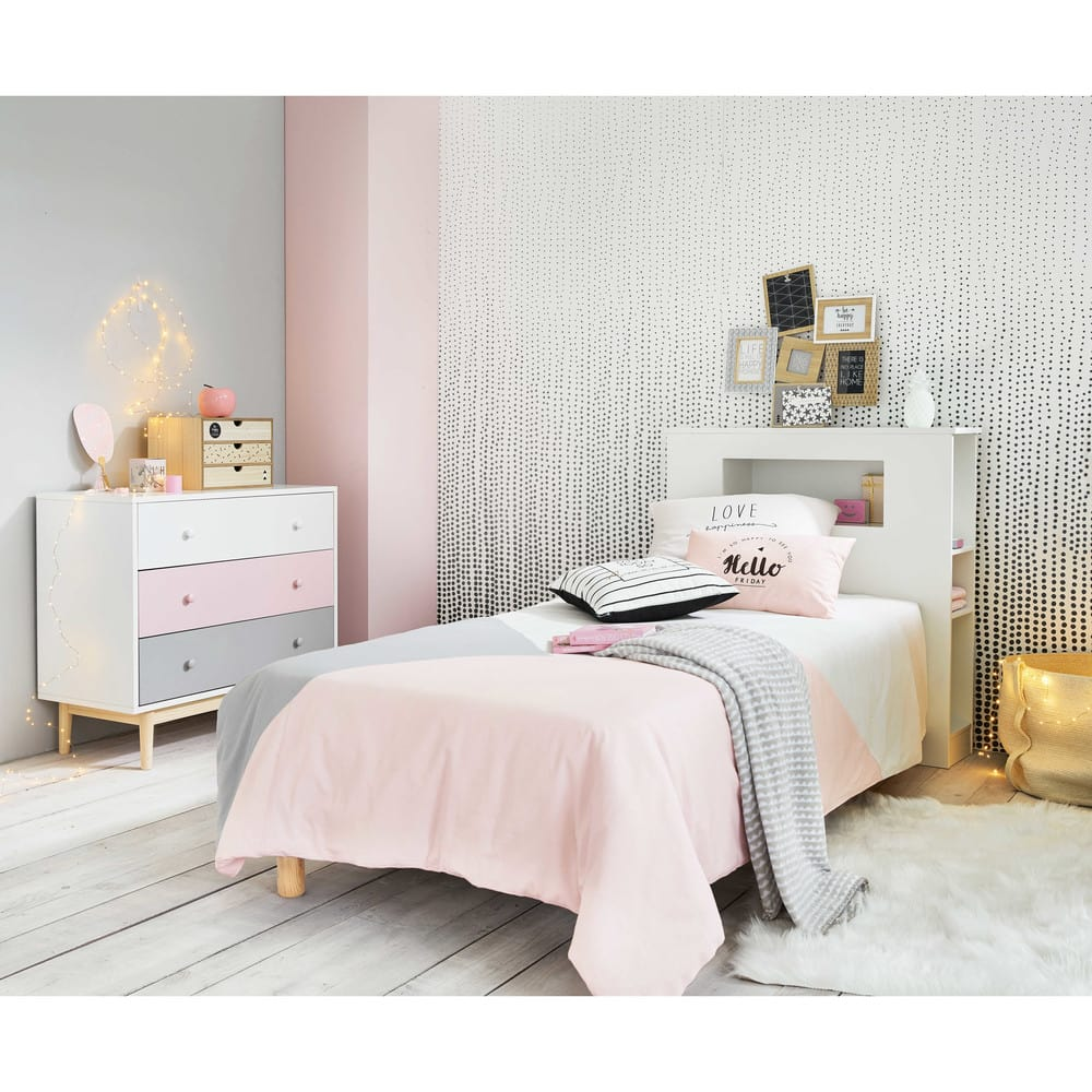 parure de lit en coton gris et rose 140x200 joy maisons du monde. Black Bedroom Furniture Sets. Home Design Ideas
