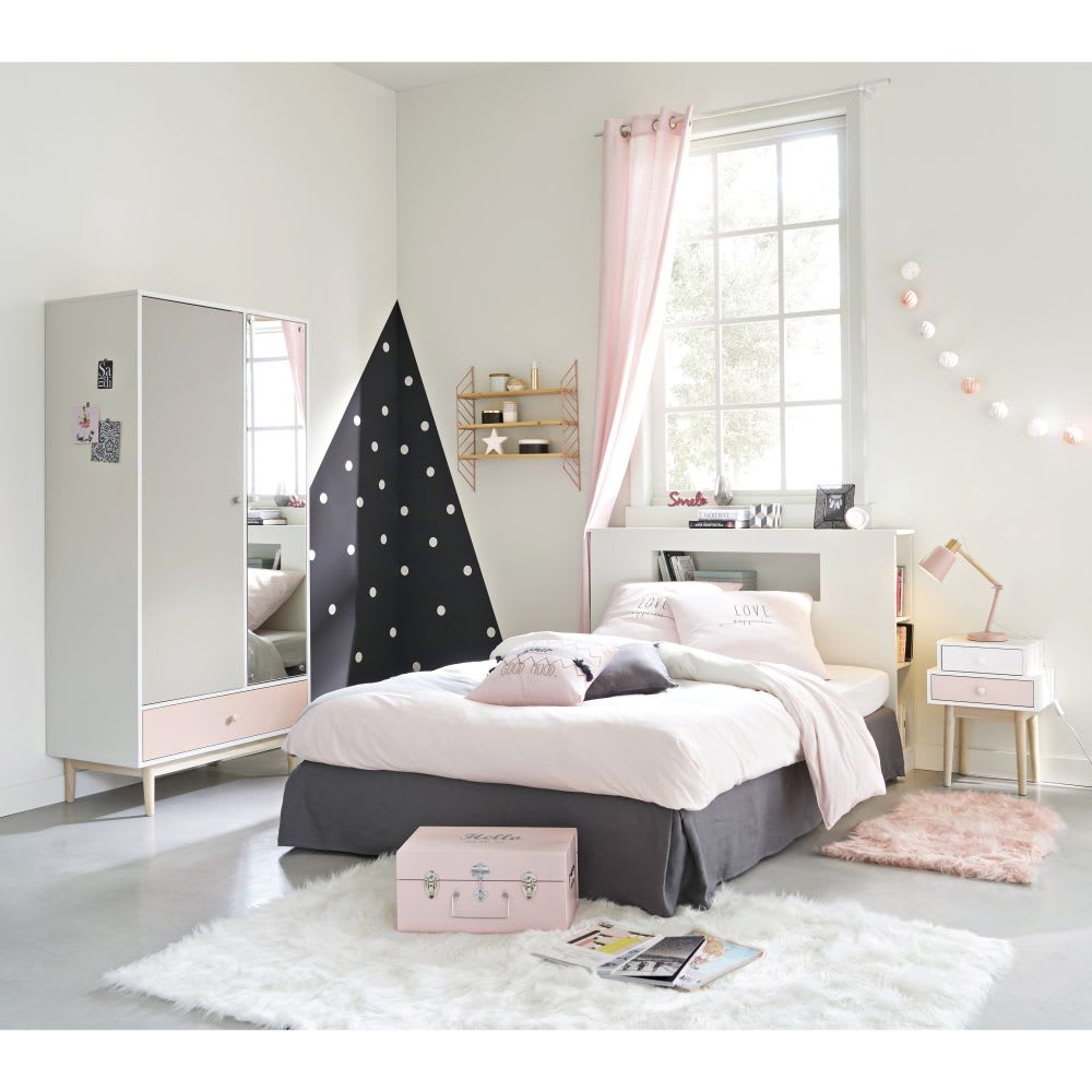 parure de lit en coton gris et rose 140x200 joy maisons. Black Bedroom Furniture Sets. Home Design Ideas