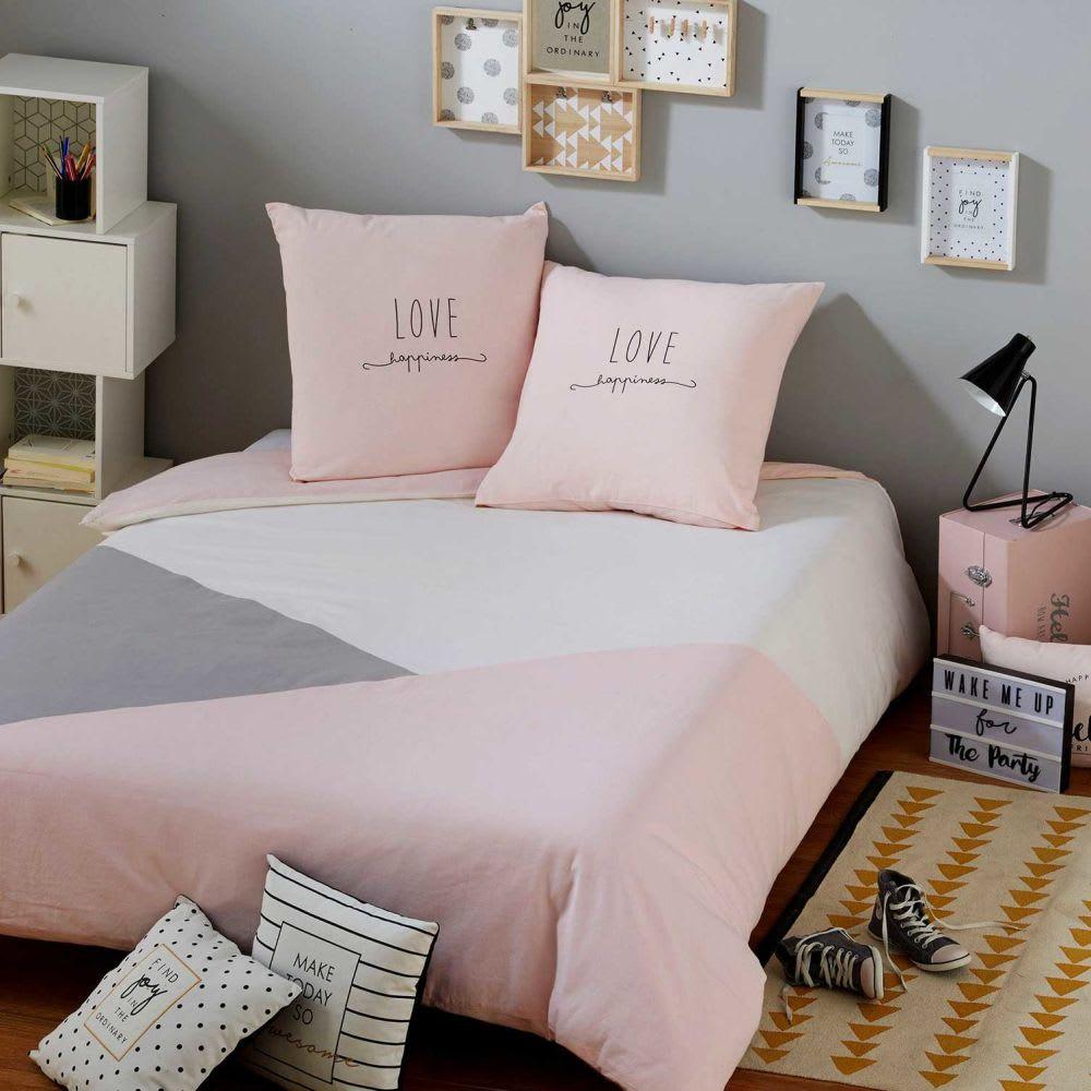 parure de lit en coton gris et rose 220x240 joy maisons. Black Bedroom Furniture Sets. Home Design Ideas