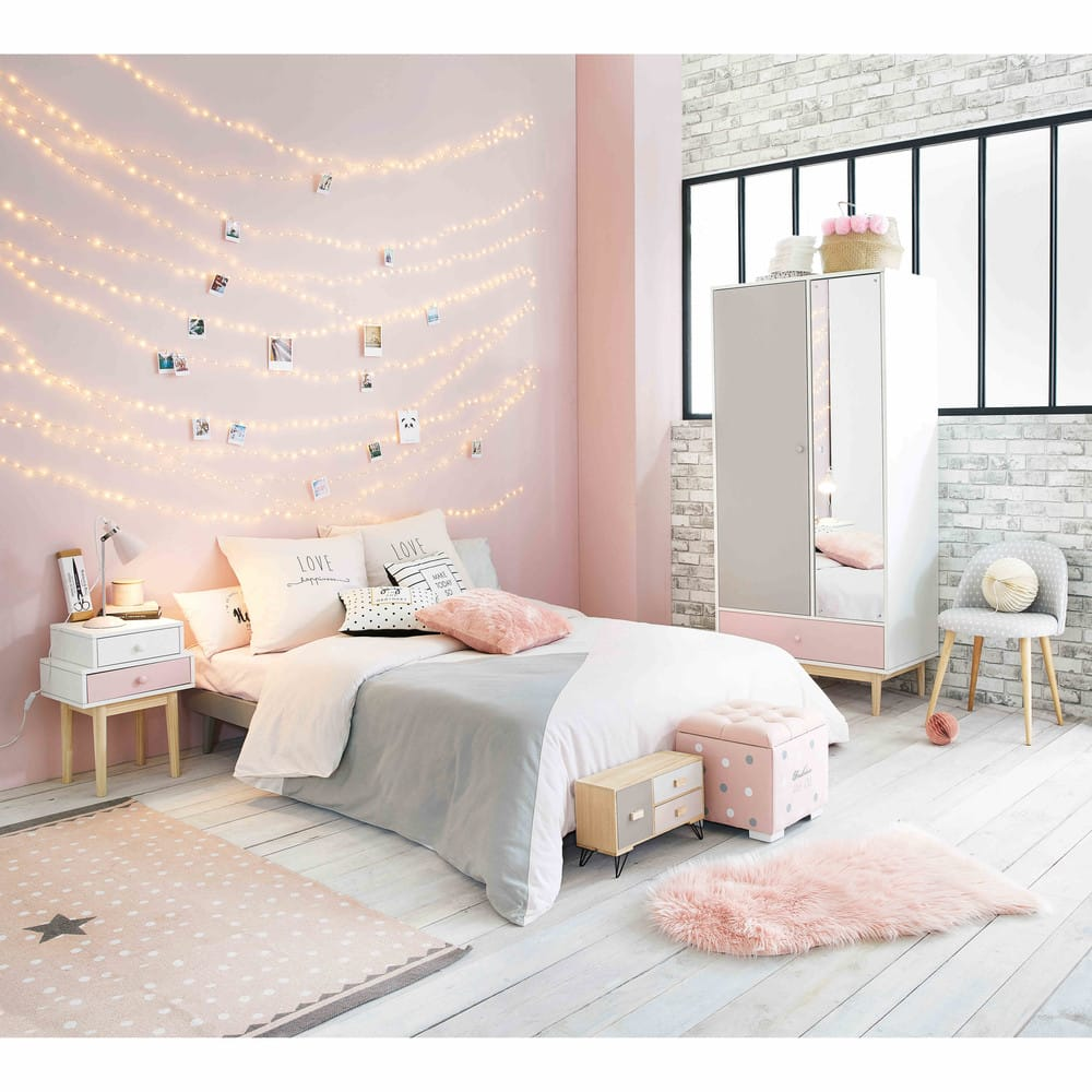 parure de lit en coton gris et rose 220x240cm joy. Black Bedroom Furniture Sets. Home Design Ideas
