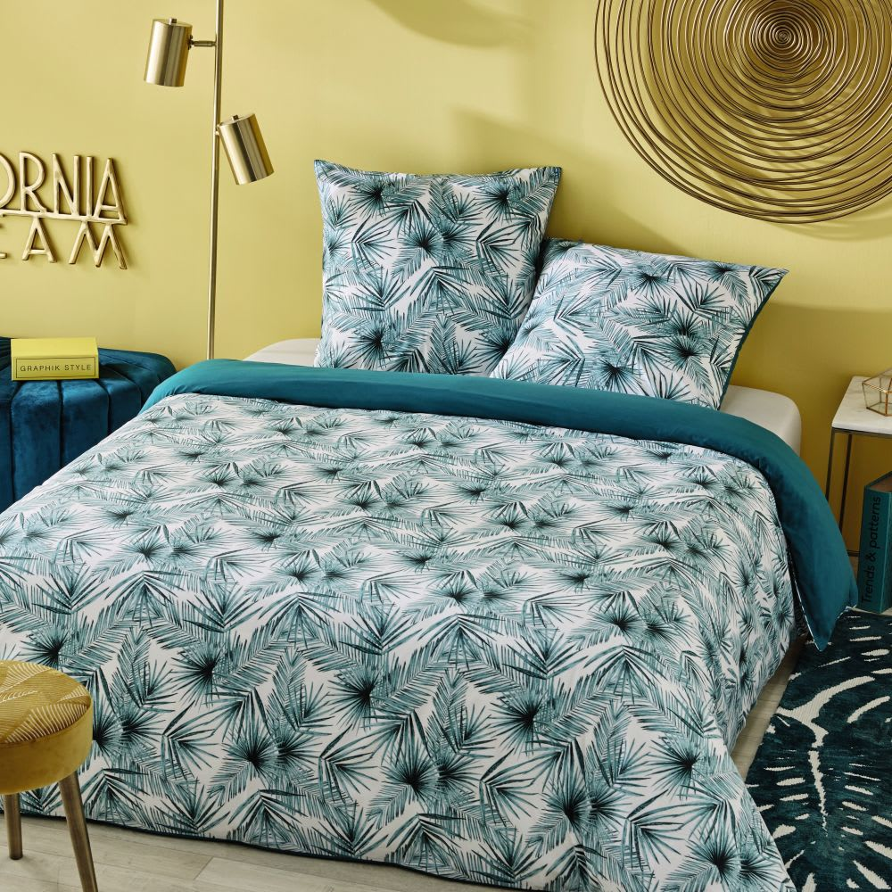 parure de lit en coton motifs feuilles tropicales 220x240. Black Bedroom Furniture Sets. Home Design Ideas