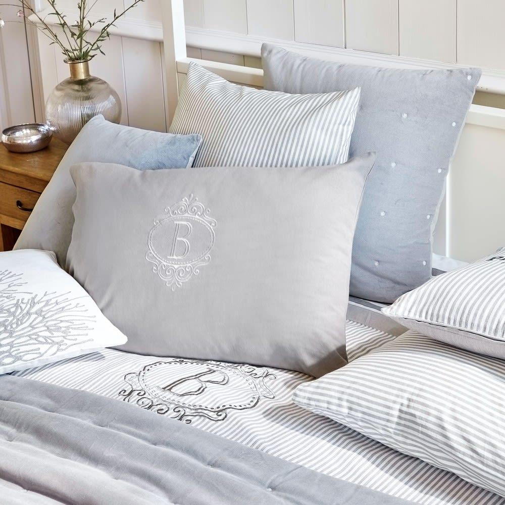 parure de lit en coton motifs rayures 220x240 barbade. Black Bedroom Furniture Sets. Home Design Ideas