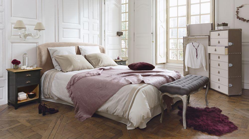 Parure de lit en coton motifs rayures barbade maisons du