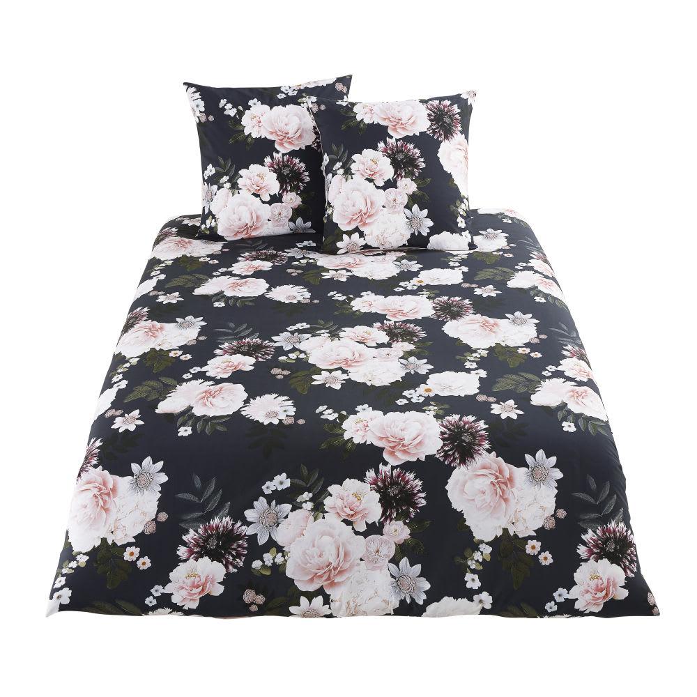 parure de lit en coton noir motif floral 220x240 alba. Black Bedroom Furniture Sets. Home Design Ideas