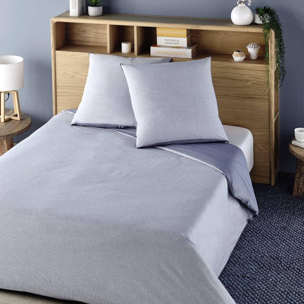 parure de lit en coton tiss bleu et blanc 220x240 marius. Black Bedroom Furniture Sets. Home Design Ideas