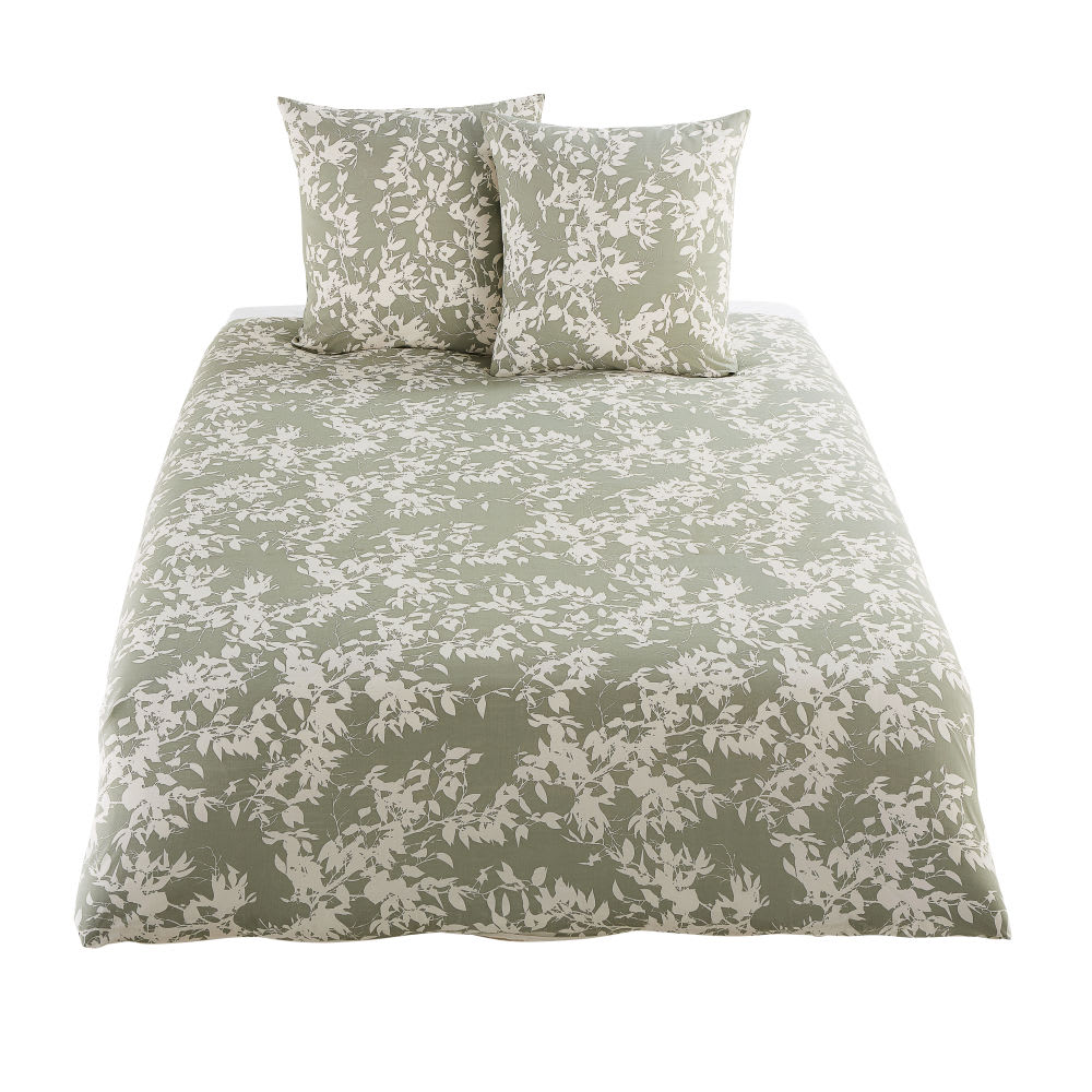 parure de lit en coton vert kaki motif floral beige. Black Bedroom Furniture Sets. Home Design Ideas