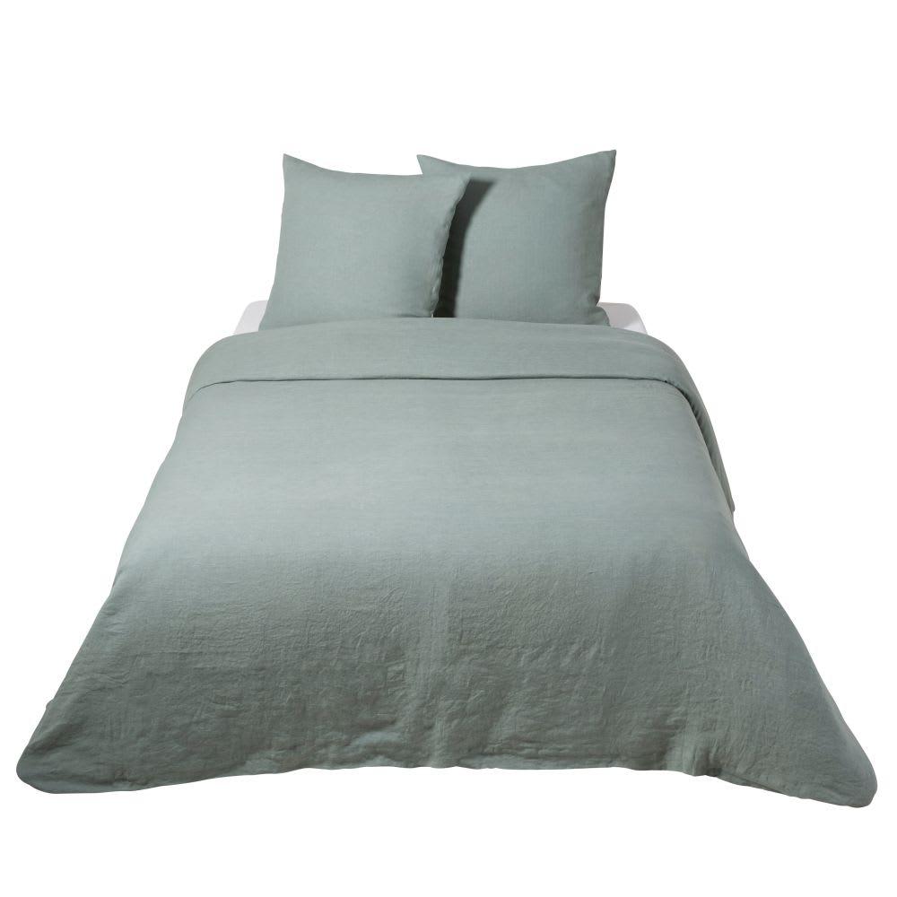 parure de lit en lin lav vert jade 220x240 maisons du monde. Black Bedroom Furniture Sets. Home Design Ideas