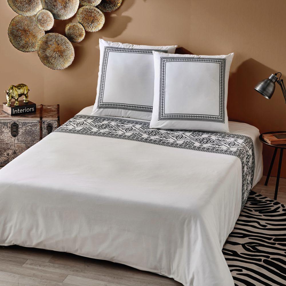 parure de lit en percale de coton crue motifs brod noirs. Black Bedroom Furniture Sets. Home Design Ideas