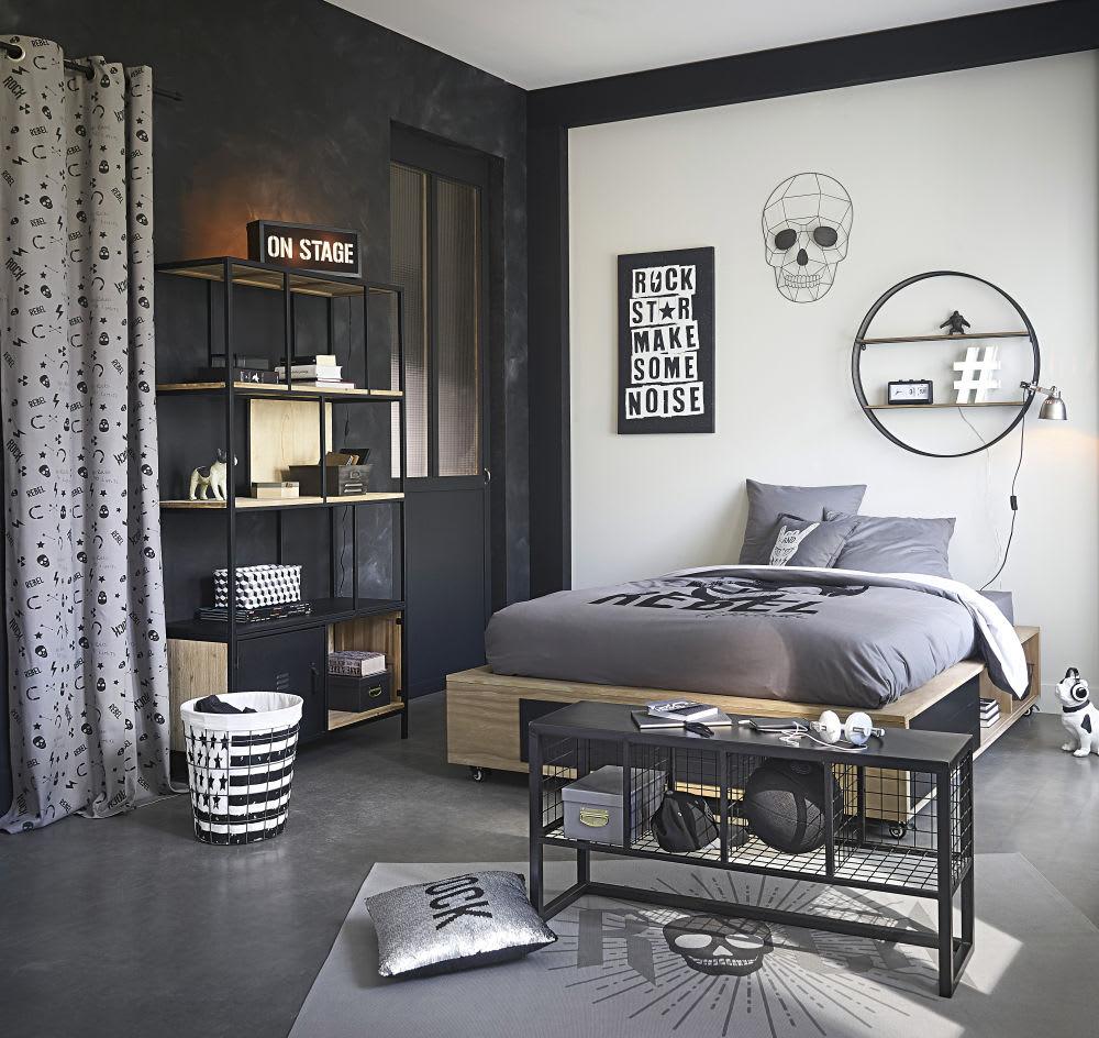parure de lit enfant en coton gris anthracite imprim noir. Black Bedroom Furniture Sets. Home Design Ideas