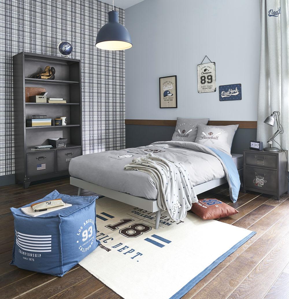 parure de lit enfant en coton gris et bleu imprim 240x220. Black Bedroom Furniture Sets. Home Design Ideas